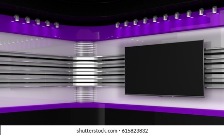 Tv Studio. Purple studio. Backdrop for TV shows .TV on wall. News studio. The perfect backdrop for any green screen or chroma key video or photo production. 3D rendering.