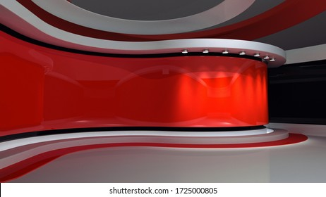 Tv studio. Red Studio. Red backdrop. News studio. News room. The perfect backdrop for any green screen or chroma key video or photo production. Breaking news. 3d rendering.