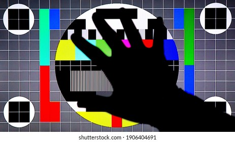 TV Test Pattern generated by a Monoscope, TV Static Noise Glitch Effect – Original Photo from a vintage Television – Concept for your project