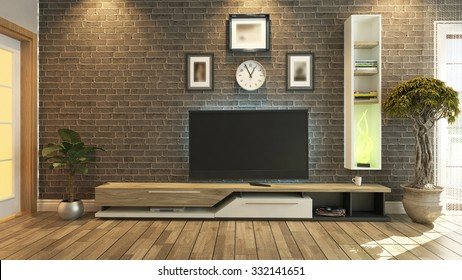 tv unit with black brick wall interior scene 3d rendering