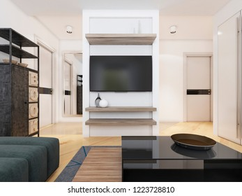TV unit in a modern living room. 3D rendering
