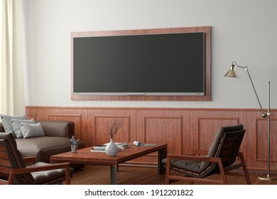 TV wide screen on the white wall in classic living room. Side view. 3d illustration