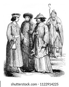 Twelfth century Bishop and lords, vintage engraved illustration. Magasin Pittoresque 1844.