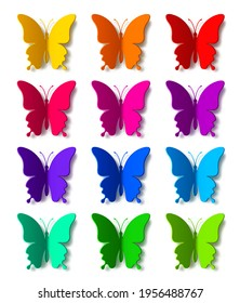 Twelve colored paper butterflies with shadow isolated on white background. Silhouette of a butterfly is perfect for stickers, icons, greeting cards and gift certificates