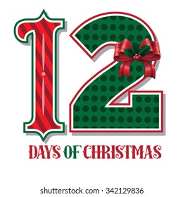 The Twelve days of Christmas typographic illustration