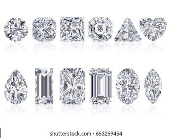 Twelve the most popular diamond cuts and shapes isolated on white background. 3d rendering illustration. Top view.