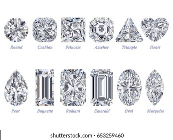 Twelve the most popular diamond cuts and shapes isolated on white background with names. 3d rendering illustration. Top view.