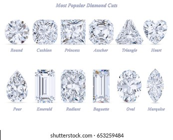 Twelve  most popular diamond cuts and shapes isolated on white background with names and title. Top view. 3d rendering illustration.