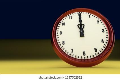twelve o'clock big clock rush watch yellow background 3D illustration