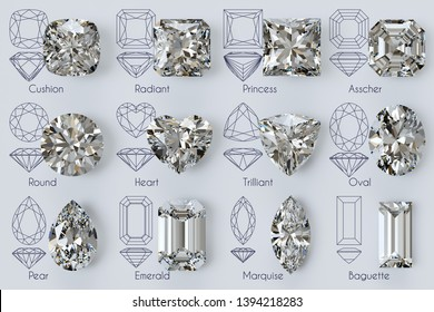 Twelve popular diamond cuts with diagrams, titles on white background. 3D illustration