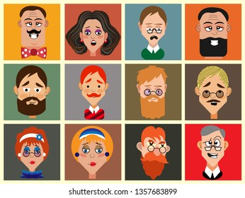 Twelve portraits of cartoon characters. Funny faces of men and women