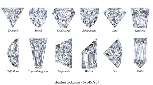Twelve varieties of exotic fancy cut diamond shapes. Triangle, shield, calf's head, bullet, tapered baguette etc. Close-up view with names  isolated on white background.  3D rendering illustration.