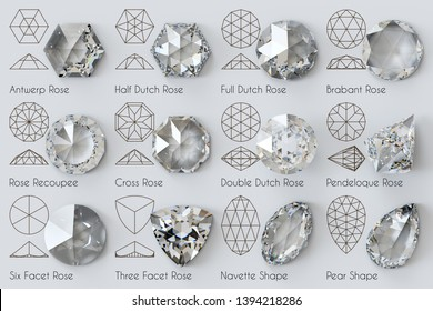 Twelve varieties of rose diamond cut, diagrams, titles on white background. 3D illustration