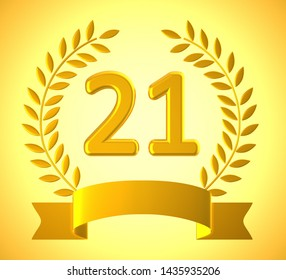 Twenty first anniversary celebration shows celebrations and greetings for marriage. 21st year of marriage congratulation - 3d illustration