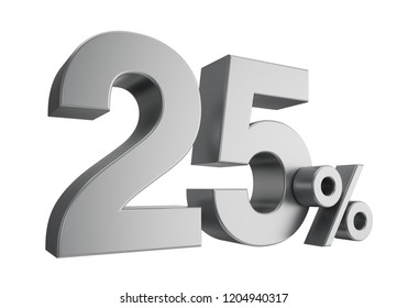 Twenty five percent or 25 % isolated on white background. 3d rendering.