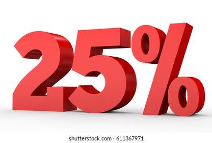 Twenty five percent off. Discount 25 %. 3D illustration on white background.
