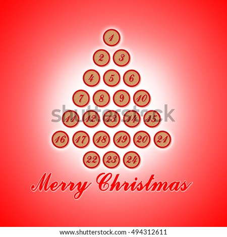 twenty four days until christmas concept image with raffle numbers on red background - How Days Until Christmas