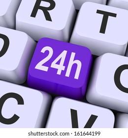 Twenty Four Hours Key Showing Website Open All Day