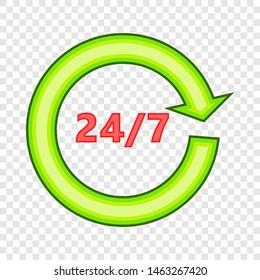 Twenty four sevenl icon. Flatillustration of twenty four seven icon for web
