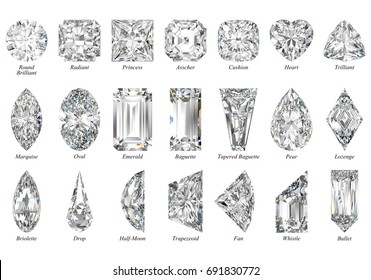 Twenty one various diamond cut shapes, fancy cut styles  Close-up top view with titles, isolated on white background. 3D rendering illustration.