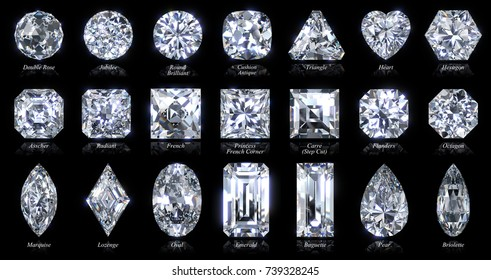 Twenty one various diamond  shapes and cut styles. 3d rendering illustration, close-up view with style names, isolated on black background