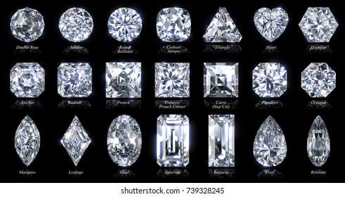 Zwanzig verschiedene Diamantformen und Schnittstile. 3D-Renderinggrafik, Nahaufnahme mit Stilnamen einzeln auf schwarzem Hintergrund