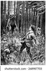 At twenty paces, stood a huge bear, vintage engraved illustration. Jules Verne Cesar Cascabel, 1890.