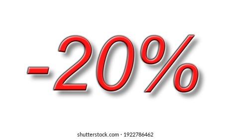 twenty percent discount reduction red