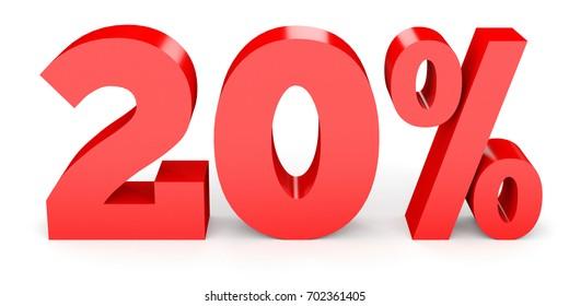 Twenty percent off. Discount 20 %. 3D illustration on white background.