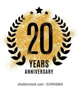 Twenty years gold anniversary symbol. 20th twenties. Golden glitter icon celebration for flyer, poster, banner, web header. Yellow sparkles event logo. Shine blur logotype.