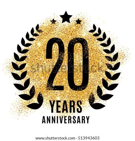 Twenty Years Gold Anniversary Symbol 20th Stock Illustration