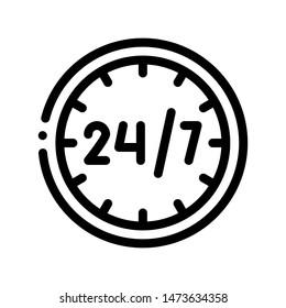 Twenty-four-seven Service Thin Line Icon. Twenty Four Hours Seven Days In Week, Hotel Performance Of Service Equipment Linear Pictogram. Business Hostel Items Monochrome Contour Illustration