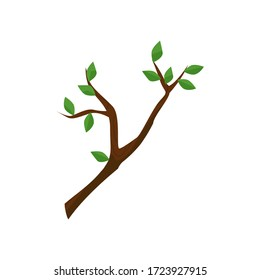 Twig with green leaves illustration. Tree branch, spring, growth. Wood concept. Can be used for topics like nature, forest, ecology