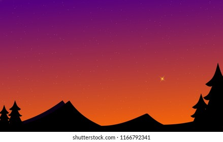 Twilight at the forest landscpe and northstar illustration astronomy design background.