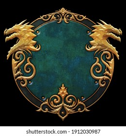 Twin dragon heads fantasy frame - 3D illustration
