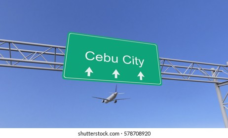Twin engine commercial airplane arriving to Cebu City airport. Travelling to Philippines conceptual 3D rendering
