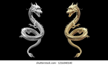 Twin of full body dragon is gold and silver color with 3d rendering.