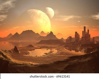 Twin Moons in Orbit over Alien Desert City and Ancient Pyramids