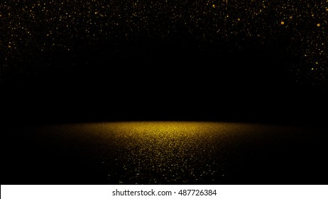twinkling golden glitter falling on a flat surface lit by a bright spotlight (3d illustration)