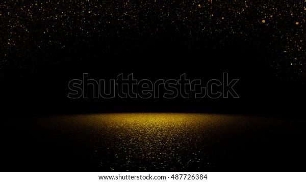twinkling golden glitter falling on a flat surface lit by a bright spotlight (3d illustration)