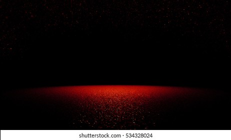 twinkling red glitter falling on a flat surface lit by a bright spotlight (3d illustration)