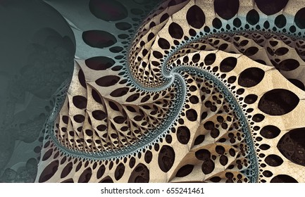 Twirl Fractal World With Holes And Two Color With Shadow