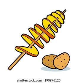 Twist potato, spiral potato, tornado potato branding corporate logo isolated on white background