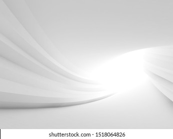 Twisted abstract white tunnel interior with glowing end. Minimal architectural background. 3d rendering illustration