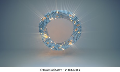 Twisted circle of illuminating spheres. Futuristic technology or science fiction concept. 3D render