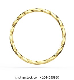 Twisted Gold ring isolated on white background - 3d illustration