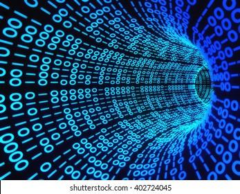Twisting tunnel of digital binary computer code.