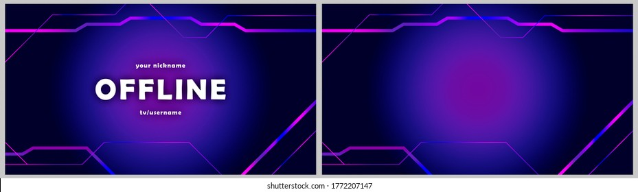 Twitch offline abstract hud screen banner 16:9 for stream. Offline purple-blue background with gradient lines. Screensaver for offline streamer broadcast. Streaming offline screen. Twitch background
