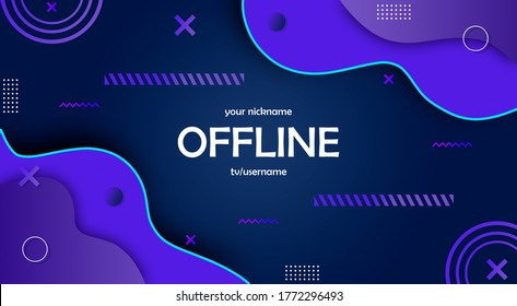 Twitch offline abstract hud screen banner 16:9 for stream. Offline purple background with colorful lines and shapes. Screensaver for offline streamer broadcast. Streaming offline screen. Twitch screen