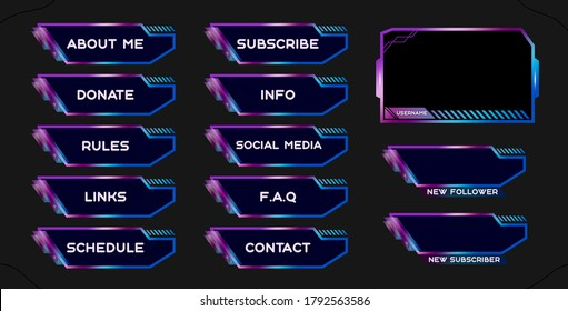 Twitch set of modern blue-pink gaming panels and overlays for live streamers. Design alerts and buttons for streaming. 16:9 and 4:3 screen resolution. Stream panels and buttons for twitch web